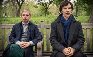Martin Freeman as Dr. Watson and Benedict Cumberbatch as Sherlock Holmes in Sherlock.